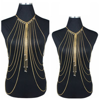 Wholesale Gold Sexy Body Chain Women Necklaces Pendants Tassel Alloy Punk Long Necklace New Designer Female Fashion Jewelry
