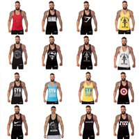 Wholesale New Hot GYM Shark Tank Tops For Men Bodybuilding Fitness Stringer Sports Vest Shirts Mens Muscle Tanks Cotton Tops Styles
