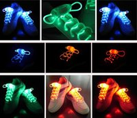 Wholesale 1pair Fiber Optic LED Shoe laces shoelaces neon led strong light flash shoelace Glow shoelace