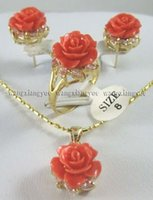 Wholesale 12MM Pink Coral Carved Flower Earrings Ring Necklace Pendant set