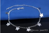 Alloy beach machine - Sterling Silver Machined Butterfly Women Anklets Foot Chain Ankle Bracelets Beach Jewelry Barefoot Sandals
