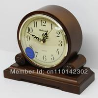 antique wooden table - Wellington High Quality Wooden European Antique style Super Mute Quartz Clock Desktop Clock Bed Room Parlour Table Clock