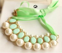 beaded ribbon necklace - Europe and the United States joker star with elegant pearl ribbon necklace manufacturers selling European and American brand necklace
