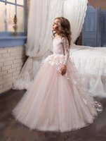 Wholesale 2017 New Princess Hot Pink Long Sleeves Ball Gown Flower Girl Dress Sweep Train Girls First Communion Dress Girls Lace Wedding Party Dresses
