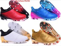 Wholesale 2017 arrived mens fashion waterproof accelerator red alert Purechaos FG AG Soccer shoes Laceless Cleats Cheap Football boots