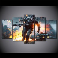 Oil Painting battlefield pc games - 5 Set Framed HD Printed Game Battlefield Painting Canvas Print room decor print poster picture canvas ny