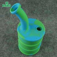 Les plus récents Bongs à vendre Spécial Oil Drum Silicon pipe pipe d'eau 2017 nouvelle conception mini drum rig 14mm ongles hookah tube en verre