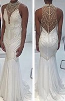 Wholesale White Mermaid Prom Dresses High Neck Beautiful White Pearls Long Sexy Prom Party Gowns