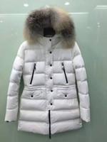 achat en gros de manteau d'hiver le blanc des femmes-M254 femmes veste d'hiver real natureal fox blanc-gris fourrure longue chaude anorak femmes manteaux parka femmes vestes