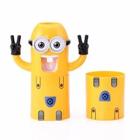 Wholesale 2016 Home Bathroom Products Cute Design Set Cartoon yellow Minions Toothbrush Holder Automatic Toothpaste Dispenser Toothpaste