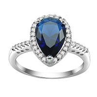 Wholesale KIVN Fashion Jewelry Princess Roayl Blue Pave CZ Cubic Zirconia Bridal Wedding Engagement Rings for Women