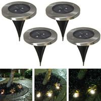 Wholesale underground lamps Solar Waterproof Underground Lamp Round Outdoor Decking LED Lights For Garden Road Decoration underground lights