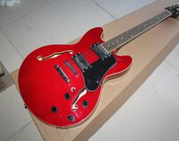 Wholesale Semi hollow Electric Guitar with Red Body Pickups and Fixed Bridge Offer Customized