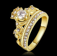 Wholesale Fashion Gold Rose Gold Plated Princess Crown Zircon Rings Wedding Ring For Women Gifts Size JY
