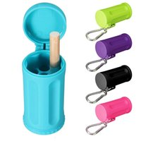 Wholesale Cylinder Durable Sack Portable Ashtray With Keychain Candy Colors ABS Car Ashtray Mini Ashtray Outdoor Beach Ashtray Gifts