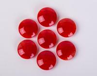 À l'intérieur de crack rouge agate go jeu perles double côtés convexe perle surface lisse