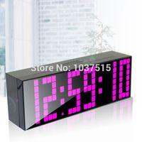 Wholesale Free Ship Modern Digital Large Big Jumbo LED Alarm Clocks Snooze Wall Clock Countdown Timer Desk Table Bedroom Clock Kids Clock