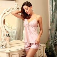 Wholesale Sexy Silk Satin Sleepwear Pajamas Women Lace Pajamas lady Pajama Piece Cami Pajama Sets V neck Nightwear Sleep Wear SJYT17