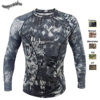 Wholesale Outdoor Woodland Hunting Shooting Shirt Battle Dress Uniform Tactical BDU Army Combat Clothing High Elastic Camouflage T Shirt SO05