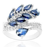 Wholesale Natural sapphire ring sterling silver blue gemstone Fine jewelry Flower style rings