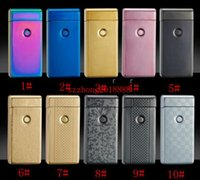 Wholesale 50pcs charging lighter windproof slim double arc pulsed arc creative personality electronic cigarette lighter colors WITH GIFT BOX great