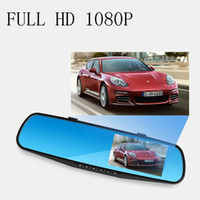 Wholesale HD quot LCD Dual Lens Dash Cam Recorder Car Camera DVR In Rearview Mirror Front Car DVR Rear view Camera