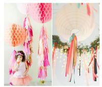 balloon curtains - Wedding Decoration Tissue Paper Tassels Garland Ribbon Balloons Birthday Curtain Marriage Car Party Supplies