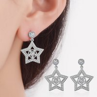 Wholesale Sanbuzhi Romantic Jewelry Stud Earrings for Women Wedding Elegant Silver Color AAA Cubic Zircon Stone Earring ZE01