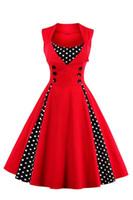 Wholesale 2017 New women vintage dress Hepburn Dot High waist Halter Dress XL plus size women clothing s s robe party Dress FS0925