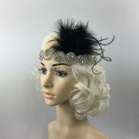 Wholesale Great Gatsby Flapper Headpiece Crystal Bridal Black Feather Headband