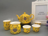Wholesale Royal tea set Chinese Style pieces Gift fine Bone China Ceramic porcelain Golden Yellow luxury noble