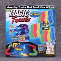 Wholesale DHL only Magic tracks electric children toy car DIY assembled suit children railcar with Feet Piece Glow track christmas gift