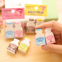 Wholesale pack Kawaii Fruit Milky Mini Rubber Eraser Creative Stationery School Supplies Papelaria Gift For Kids
