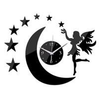 Wholesale New Stars Acrylic Angel Watch Wall Home Decoration Mirror Quartz Clocks Living Room Safe Design Diy Sticker