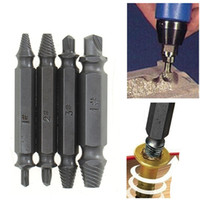 Wholesale 4PCS Set Alloy Steel Drill Bits Set Broken Bolt Remover Double Side Damaged Screw Extractor Power Tools Kit Best