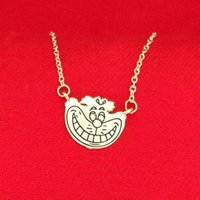 alice gold necklace - Alice In Wonderland Cheshire cat Necklace Gold smile face pendants for women kids fashion jewelry Christmas gift