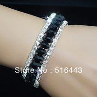 Las pulseras esqueléticas de los encantos de las pulseras de los Rhinestones checos cristalinos negros de los encantos 3pcs 3rows al por mayor forman la joyería A-700 de la manera