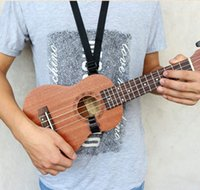Wholesale Ukulele Strap Fits All quot quot quot Ukulele Accessories Guitar straps black Nylon Strap Length Adjustable Strength Hook