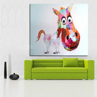 big head horses - Cartoon Big Head Horse High Quality genuine Hand Painted Wall Decor Abstract Animal Art Oil Painting On Canvas ali meime