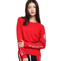 Wholesale Women Cashmere Blend O Neck Black and Red Sweater Winter Fashion Casual Pullover Autumn Female Letter Printed Knitwear Jumper