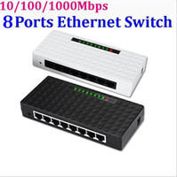 Wholesale Lan Switch Port - 8 Ports 10 100 1000Mbps Network Switch Fast Ethernet RJ45 Lan Hub MDI Full Half Duplex with AC Power Supply EU US Plug 30set lot