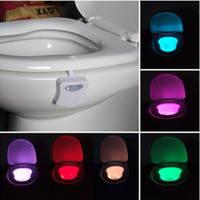 Wholesale 8 Colors Adjustable Bathroom LED Toilet Seat Light Auto sensing Motion Activated Night Lamp Colors Adjustable LED