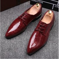 Wholesale 2016 NEW fashion black red Genuine leather Men dress shoes Male Business oxford shoes top quality original brand men Wedding shoes NXX60