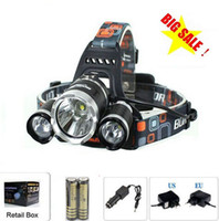 Wholesale 6000 Lumens Headlight LED Cree XM L T6 R5 Head Lamp High Power LED Headlamp battery Charger car charger