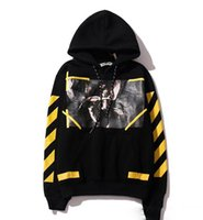 Men bamboo paint - 2017 OFF WHITE mens pullover stripe offset print hoodies fleece Sweatshirts brand HBA Vision religion painting men hoodie