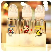Wholesale Cute Baby Kids Glass Water Bottles Anti Scald Feeding Bottle With Silicon Nipple Children Fruit Crazy Animals Cartoon Bottle Cups