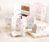 Wholesale 5 pieces of porcelain bathroom set soap bottle dish toothbrush holder two cups with full decal