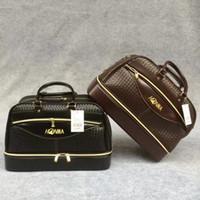 achat en gros de sacs polochons marron-NOUVEAU HONMA Golf Boston Bag Hommes tissés PU Leather Clothing Duffel Bag pour Golf Shoes Sac noir et marron couleurs