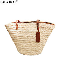 beach interior design - New Summer Design Women Beach Bag Fashion Solid Straw Handbags European Popular Women Shoulder Bags Ladies BWA0236