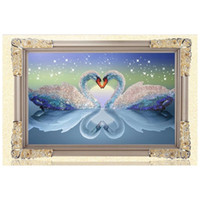 animal cross stitch - 5D DIY Diamond Painting Kits Round Rhinestone Draw Diamond embroidery Animals Swan Cross Stitch Kit Mosaic Picture Swans in Love